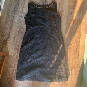 Tahari Luxe Black Gold Metallic Tweed Sheath Dress